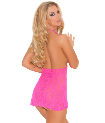 Lace Wireless Halter Chemise Set in Pink