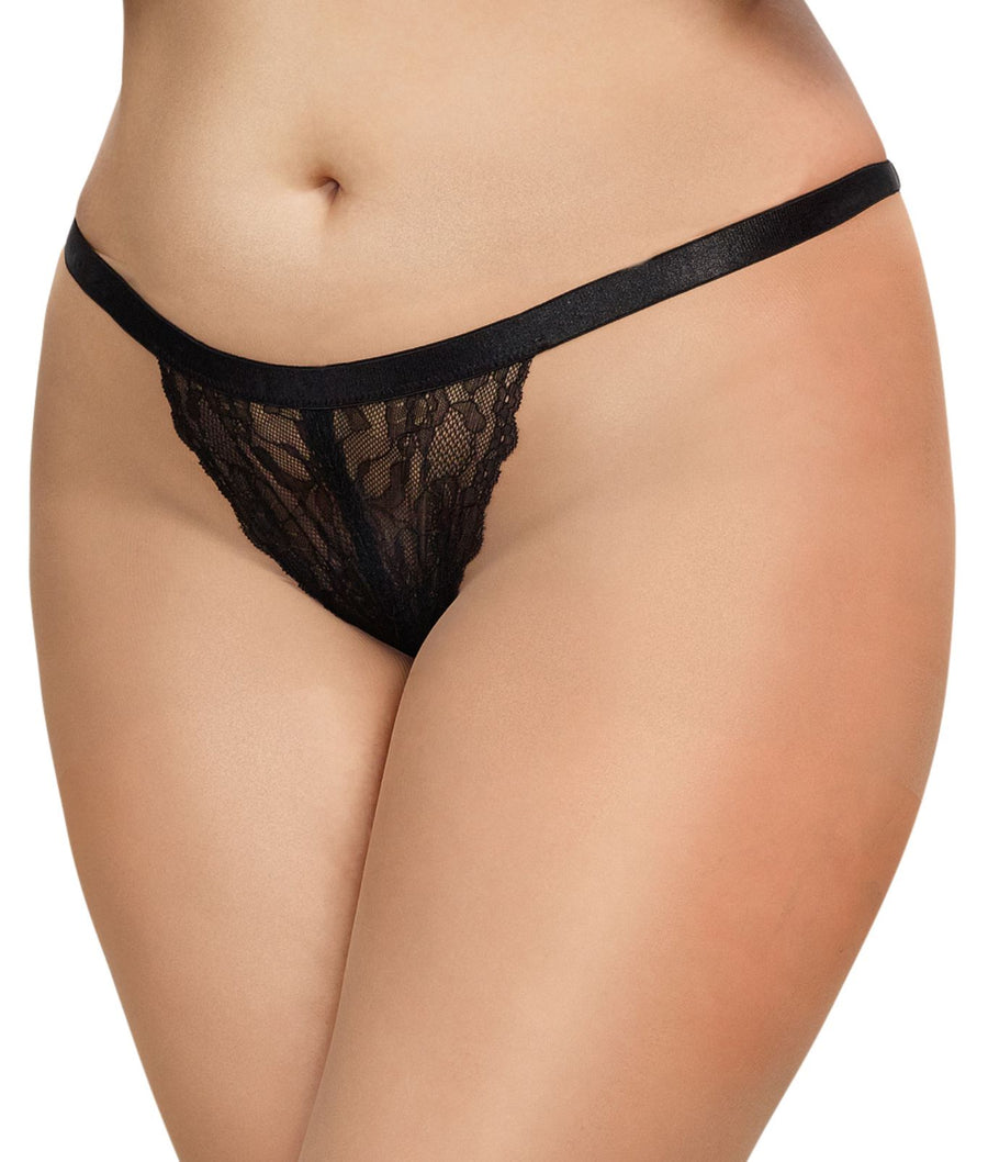 Black||Plus Size Crotchless Heart Lace G-String in Black