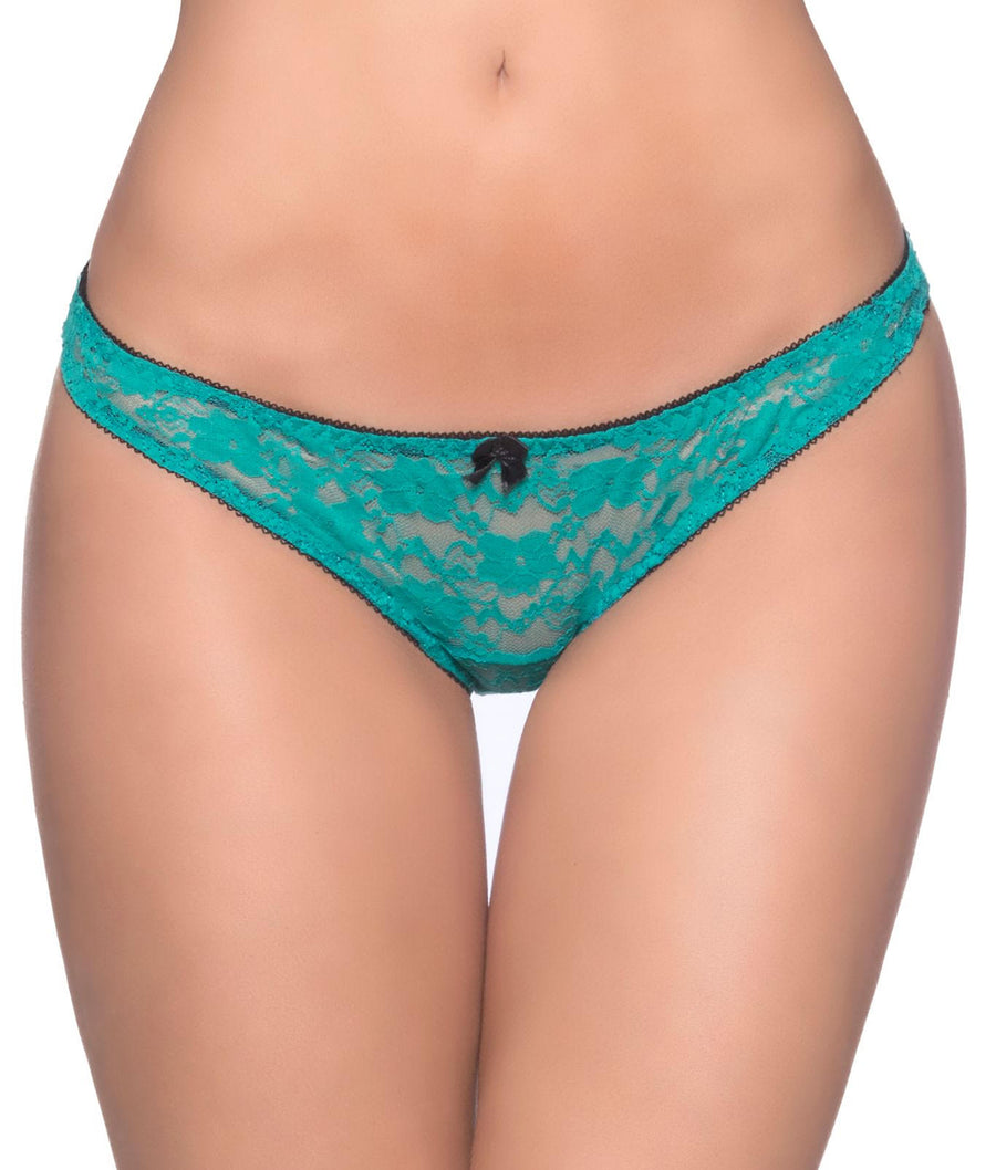 Turquoise||Open Back Crotchless Bikini in Turquoise
