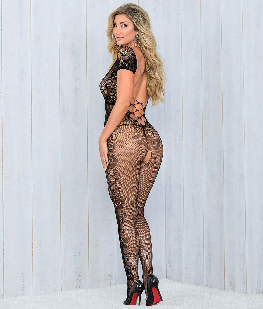 Black||Criss-Cross Crotchless Bodystocking in Black