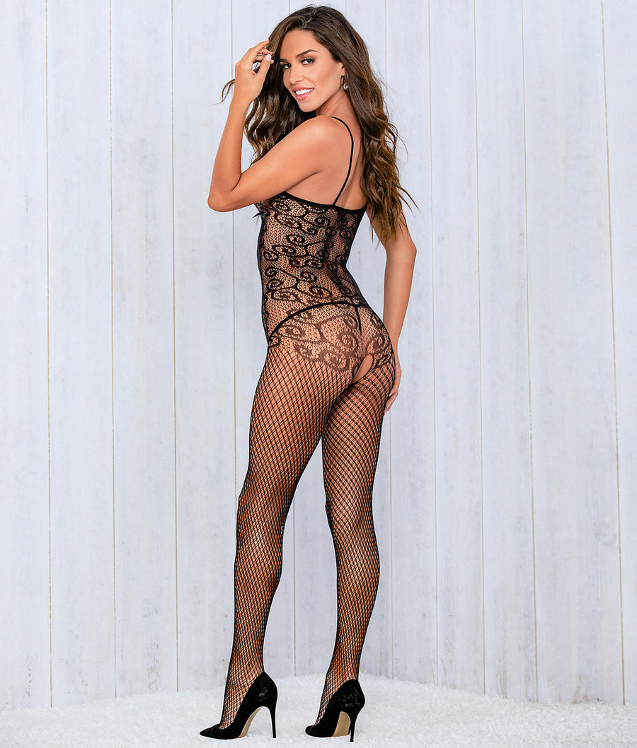 Black||Crotchless Bow Body Stocking in Black