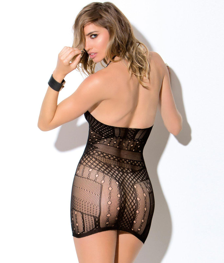 Black||Agent 69 Halter Chemise in Black