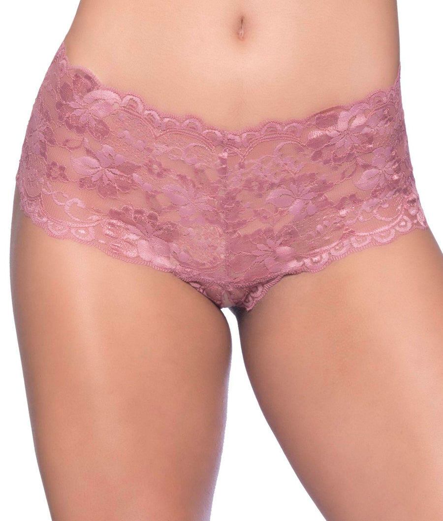 Mesa Rose Pink||Goodnight Kiss Crotchless Boyshort in Mesa Rose Pink