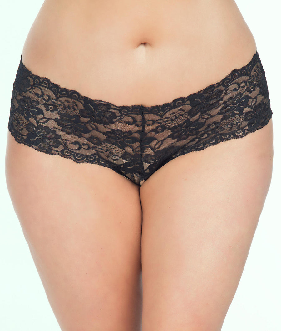 Black||Plus Size Goodnight Kiss Crotchless Boyshort in Black