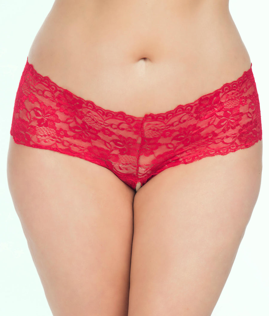 Red||Plus Size Goodnight Kiss Crotchless Boyshort in Red