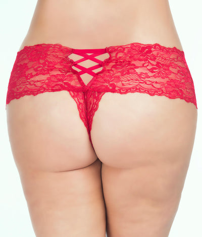 Plus Size Goodnight Kiss Crotchless Boyshort in Red