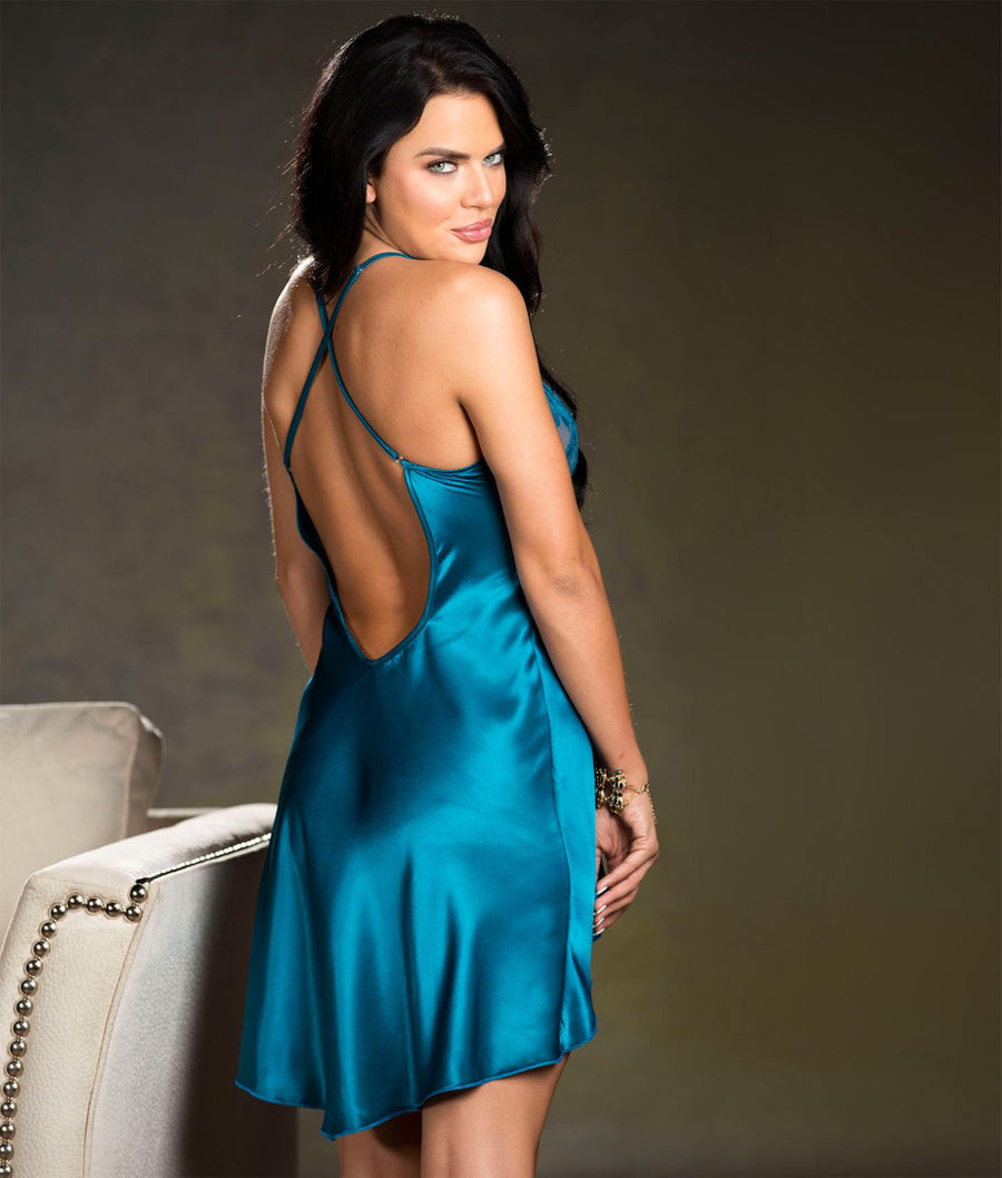 Teal||High Low Charmeuse Babydoll in Teal