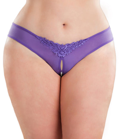 Plus Size Crotchless Pearl Thong in Purple