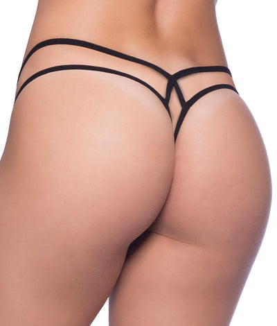 Criss-Cross Lace Thong in Black