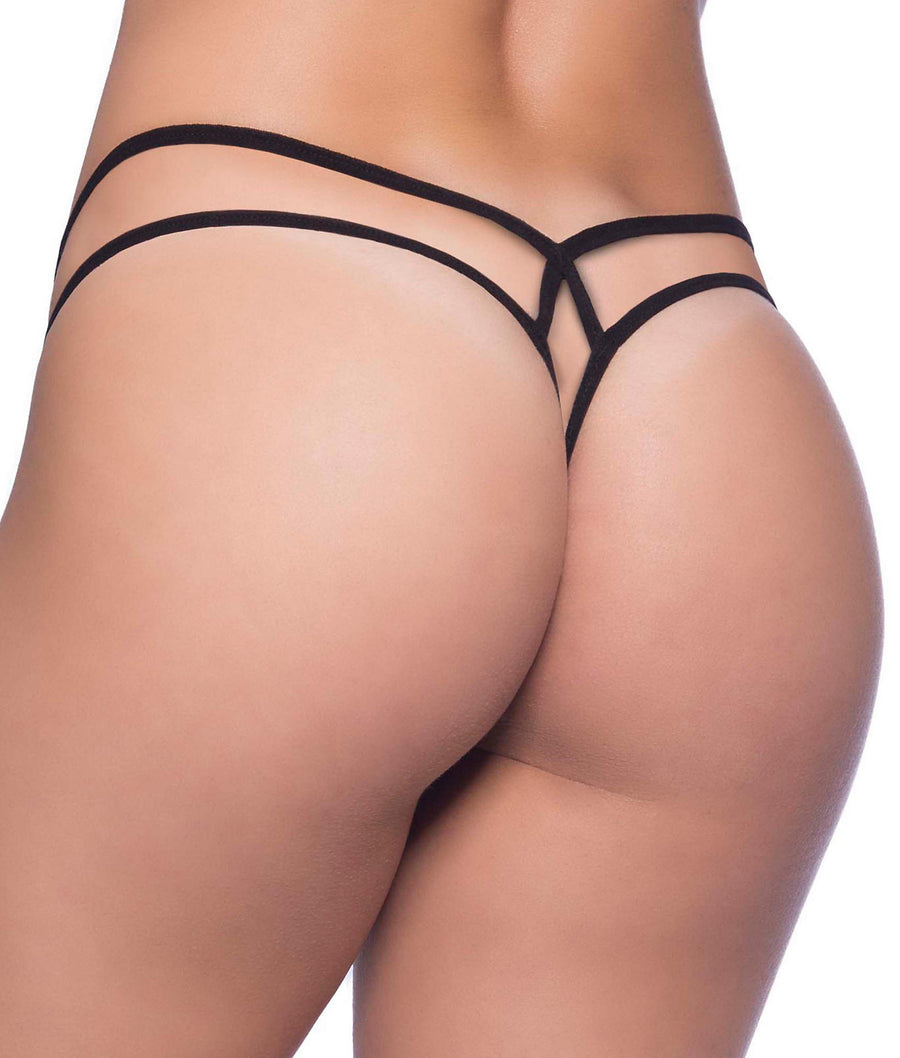 Black||Criss-Cross Lace Thong in Black