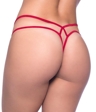 Criss-Cross Lace Thong in Red