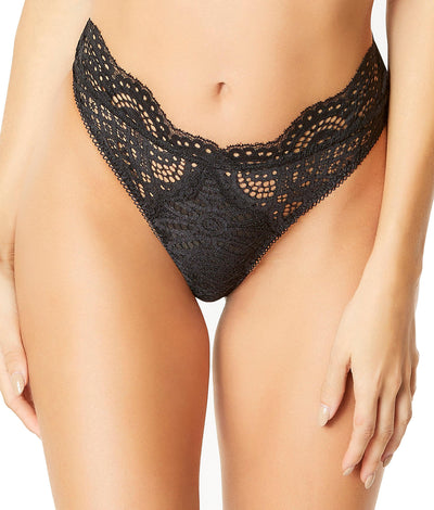 Real Lingerie Bohemian Lace Thong in Black