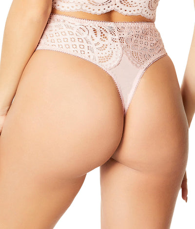 Real Lingerie Bohemian Lace Thong in Silver Peony