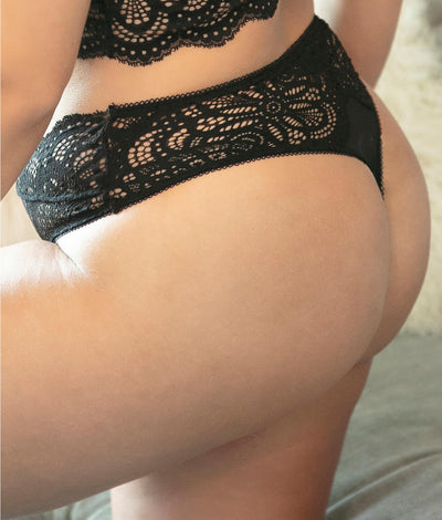 Plus Size Real Lingerie Bohemian Lace Thong in Black