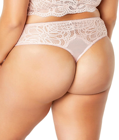 Plus Size Real Lingerie Bohemian Lace Thong in Silver Peony