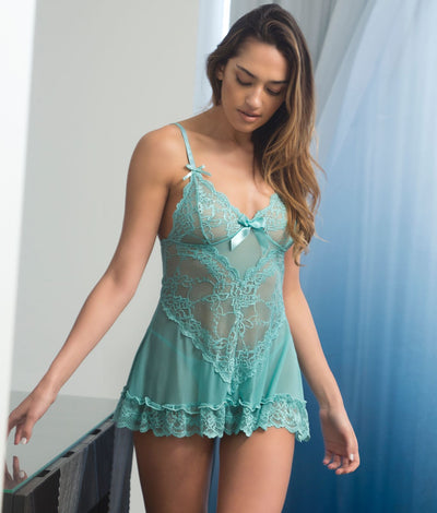 Lace Babydoll Set in Turquoise Green