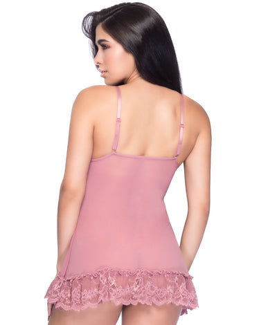 Lace Babydoll Set in Rose Pink