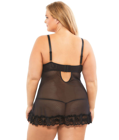 Plus Size Lace Babydoll Set in Black