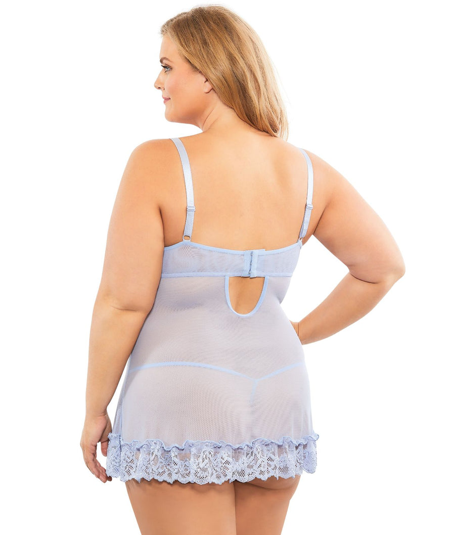 Brunnera Blue||Plus Size Lace Babydoll Set in Brunnera Blue