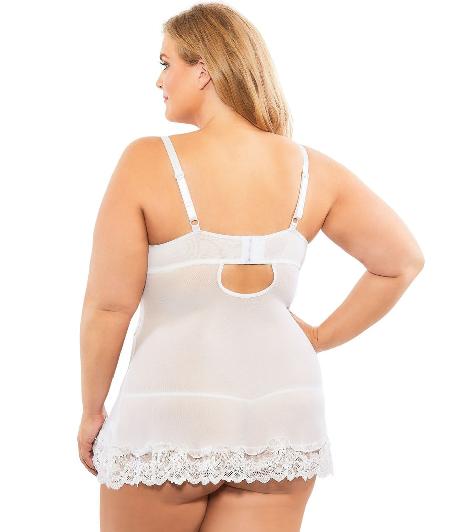 White||Plus Size Lace Babydoll Set in White