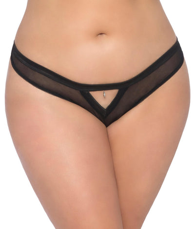 Plus Size Mesh Thong in Black
