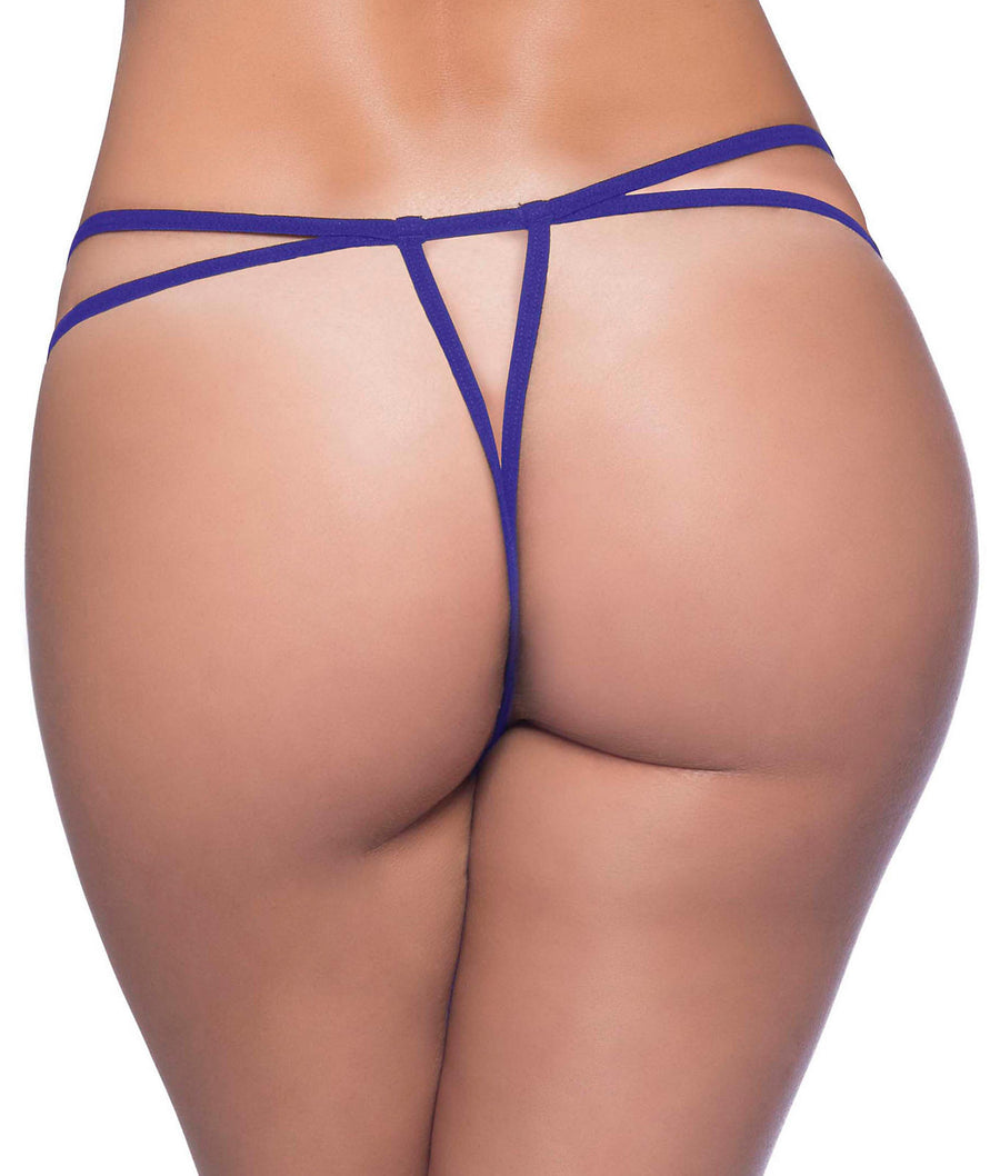 Purple||Crotchless Lace Thong in Purple