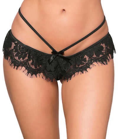Crotchless Eyelash Lace Tanga in Black