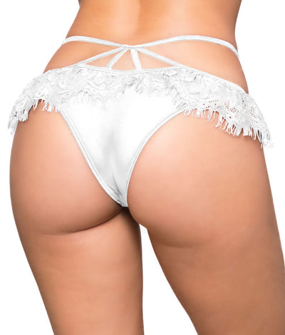 Crotchless Eyelash Lace Tanga in White
