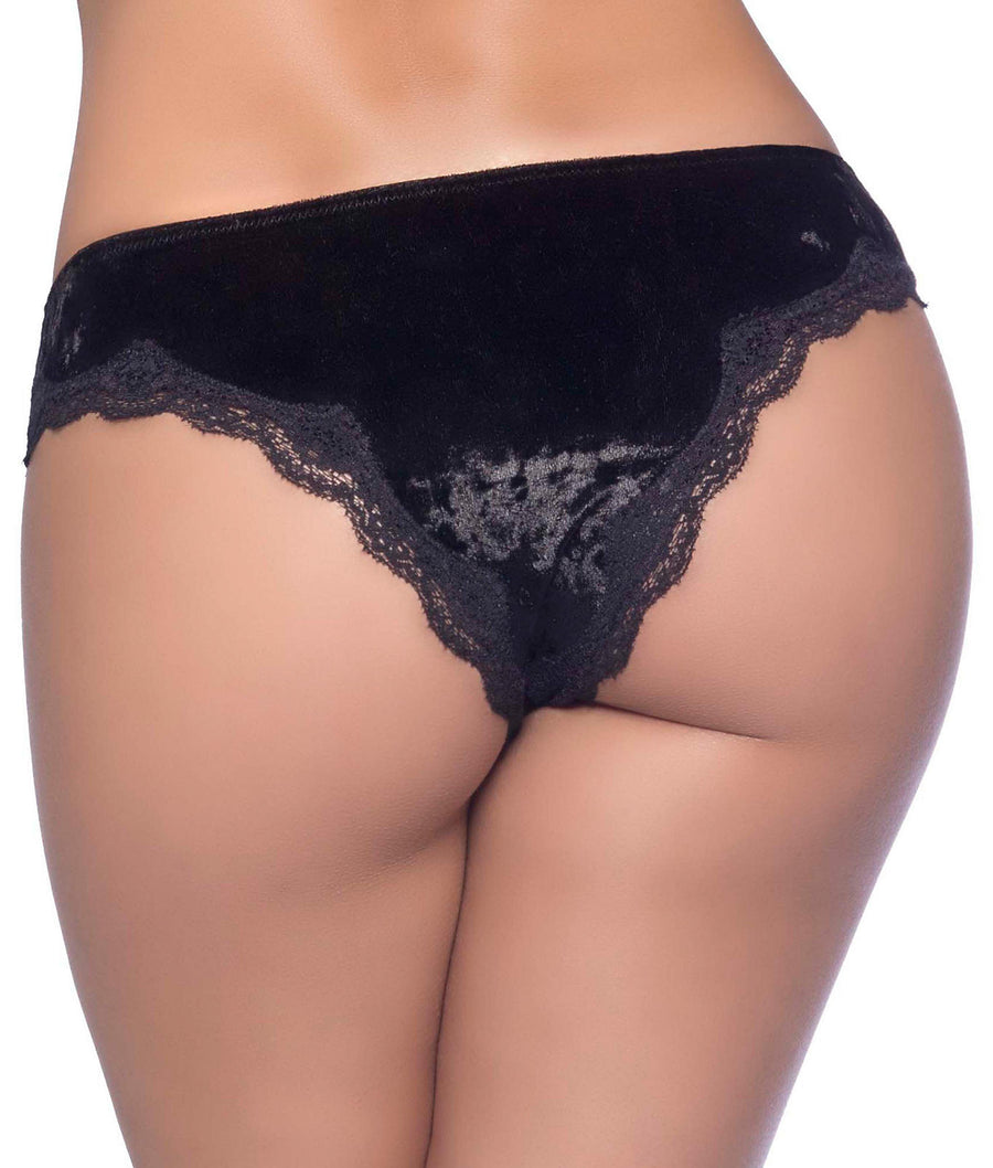 Black||Plus Size Real Lingerie Crushed Velvet Tanga in Black