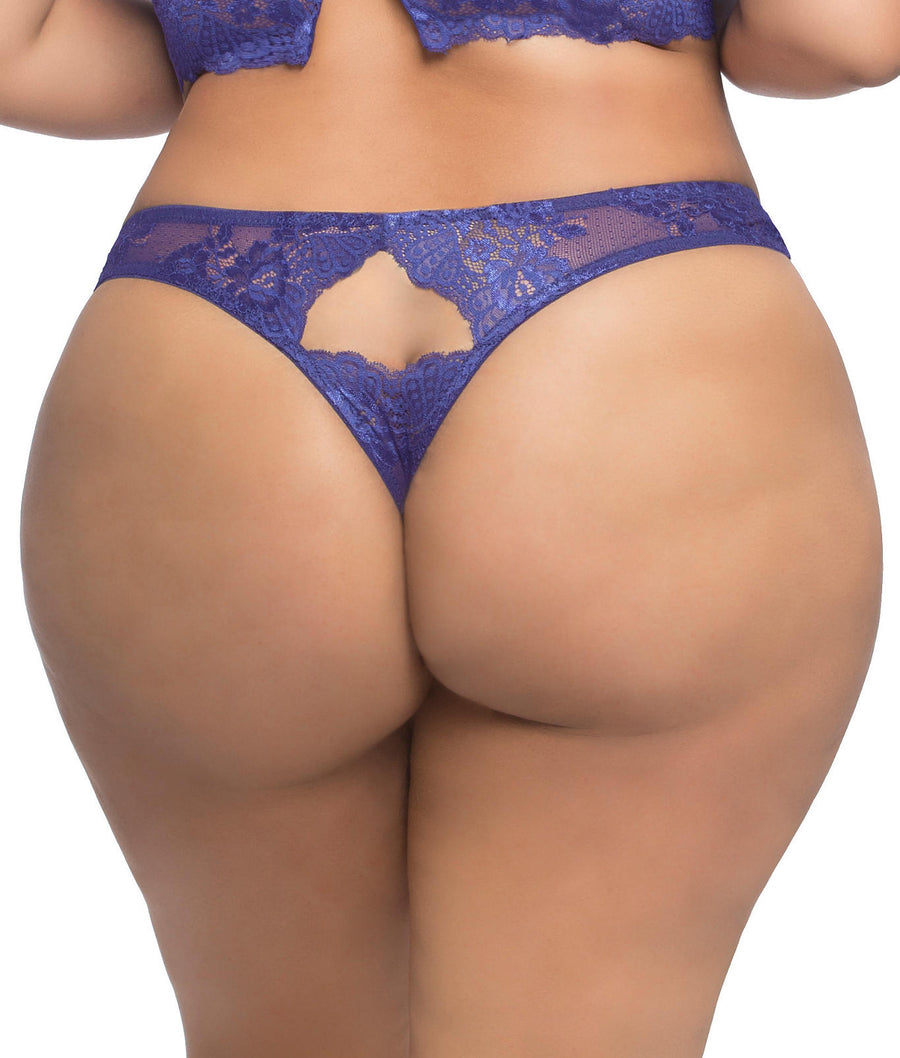 Astral Blue||Plus Size Josilyn Lace Thong in Astral Blue