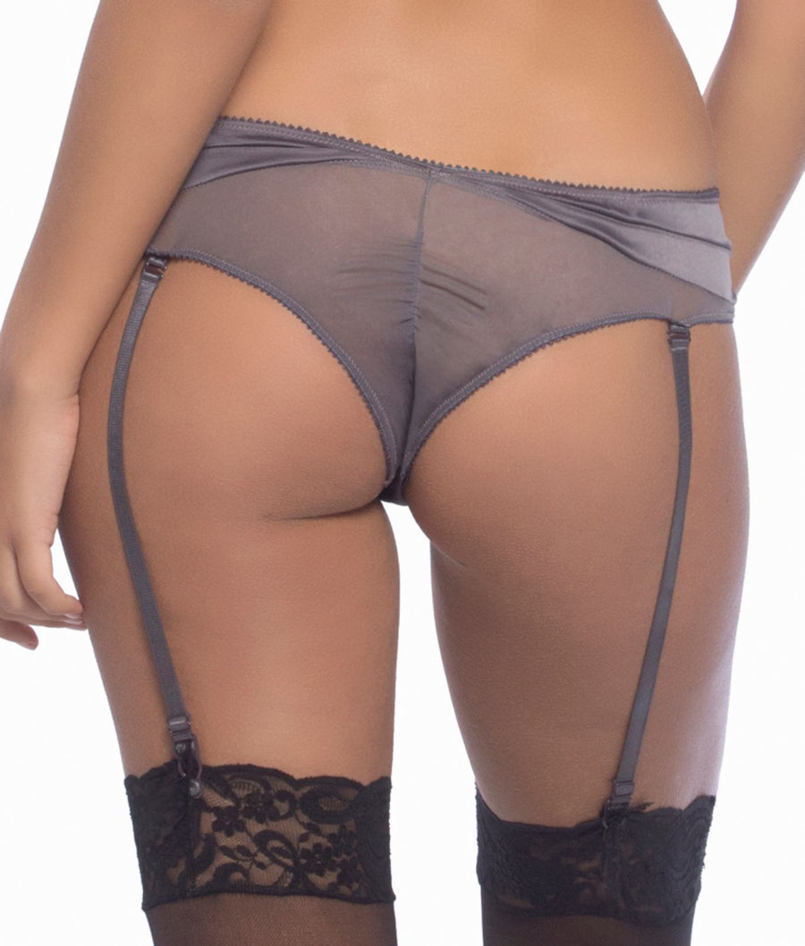 Excalibur Grey||Arabella Satin Garter Panty in Excalibur Grey