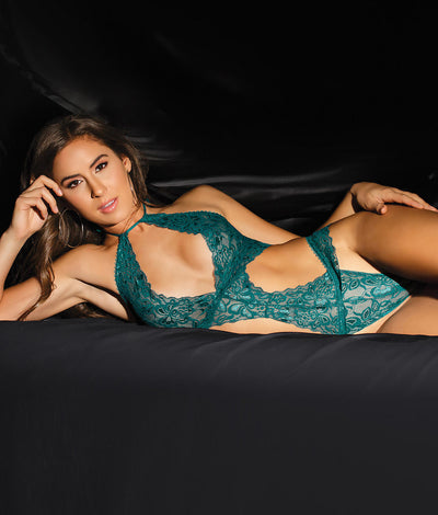 High Neck Lace Teddy in Teal