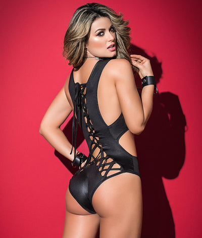 Deep Plunge Lace-Up Bodysuit in Black