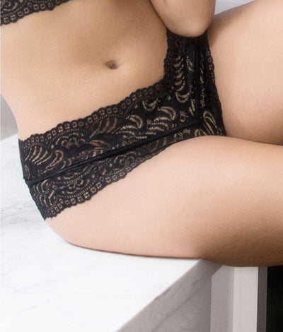 Odette Lace Boyshort in Black