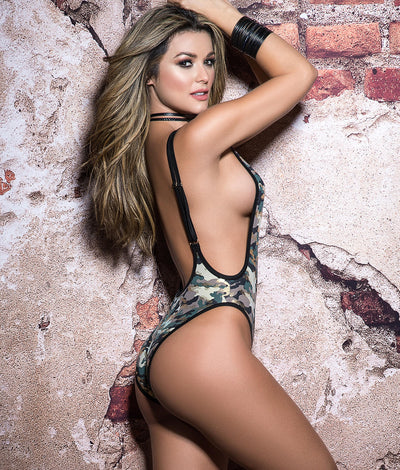 Camo Bodysuit in Camouflage Green