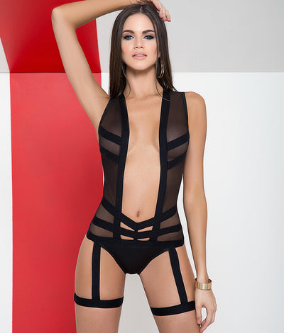 Deep Plunge Faux Garter Bodysuit in Black