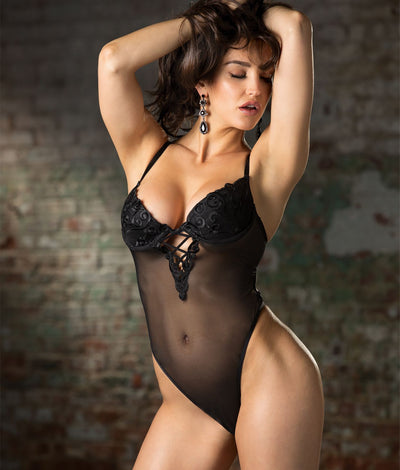 Swirl Embroidery Mesh Teddy in Black