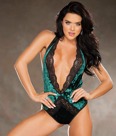 Crushed Velvet Deep V-Plunge Teddy in Green