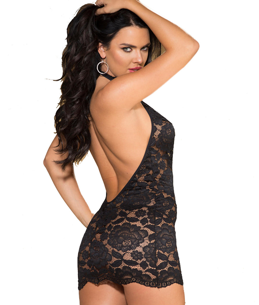 Black||High Neck Lace Chemise Set in Black