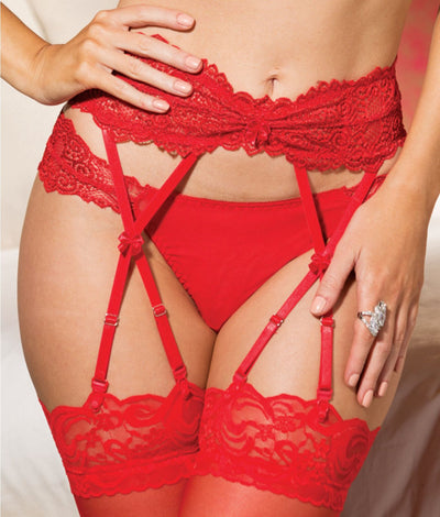 Lace Garter Belt in Red