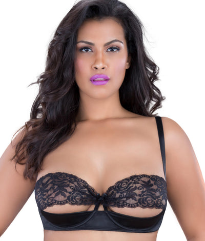Lace Shelf Bra in Black
