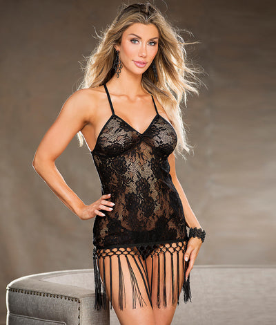 Fringe Trim Lace Chemise Set in Black