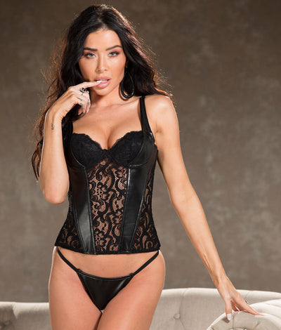 Faux Leather & Lace Bustier Set in Black