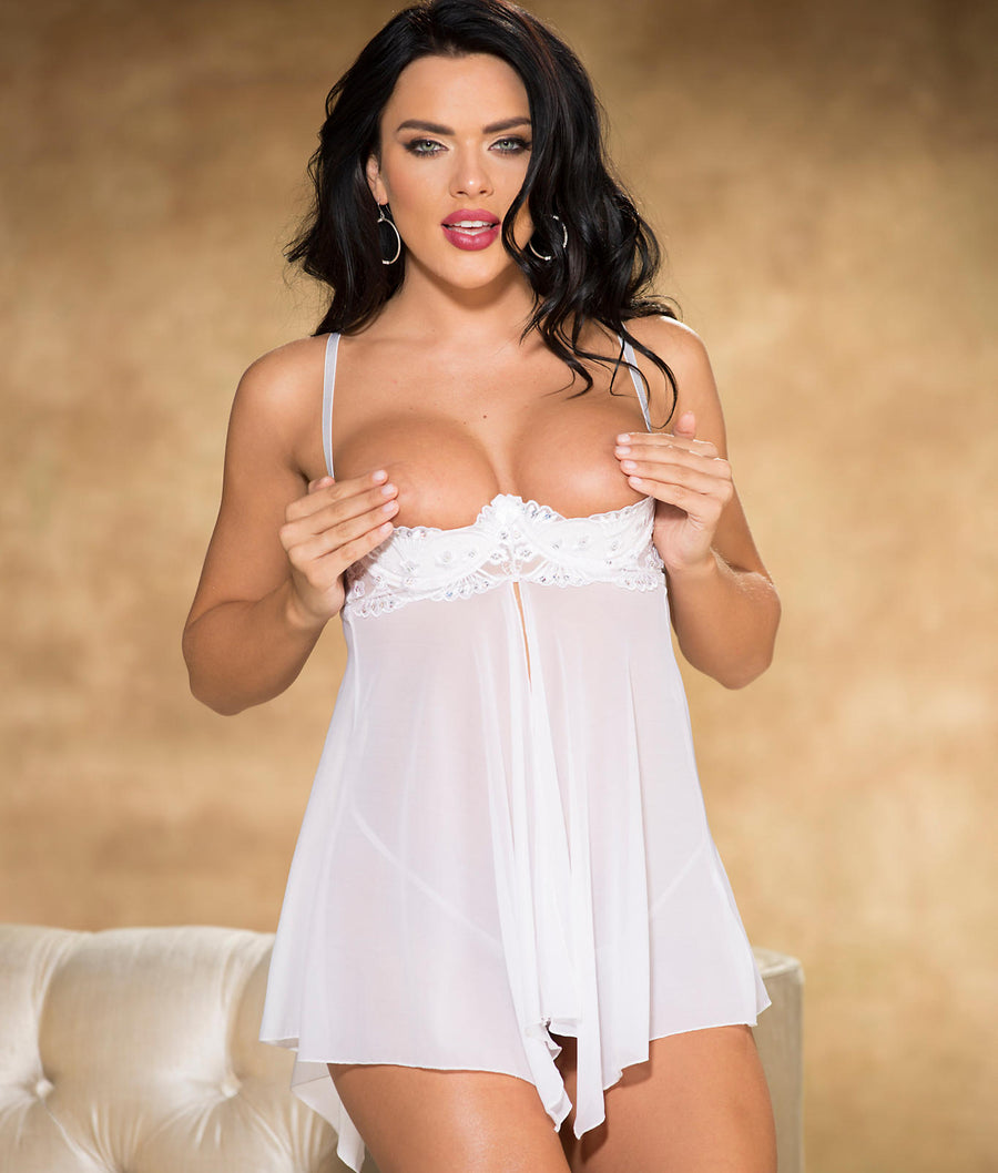 White||Crotchless Sparkle Babydoll Set in White