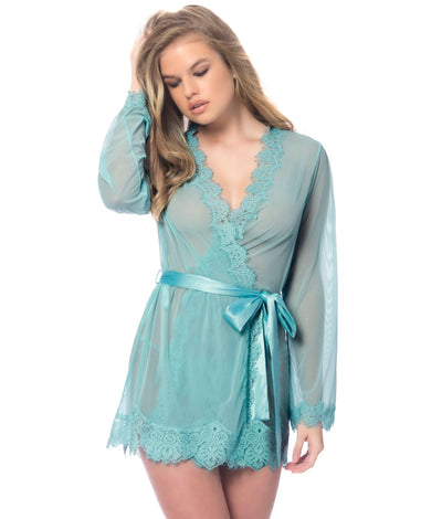 Eyelash Lace Robe Set in Dusty Turquoise