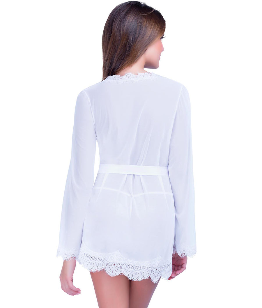 White||Eyelash Lace Robe Set in White