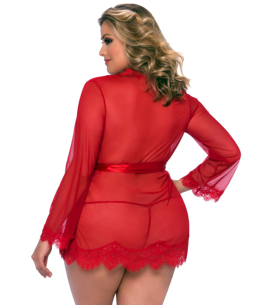 Red||Plus Size Eyelash Lace Robe Set in Red