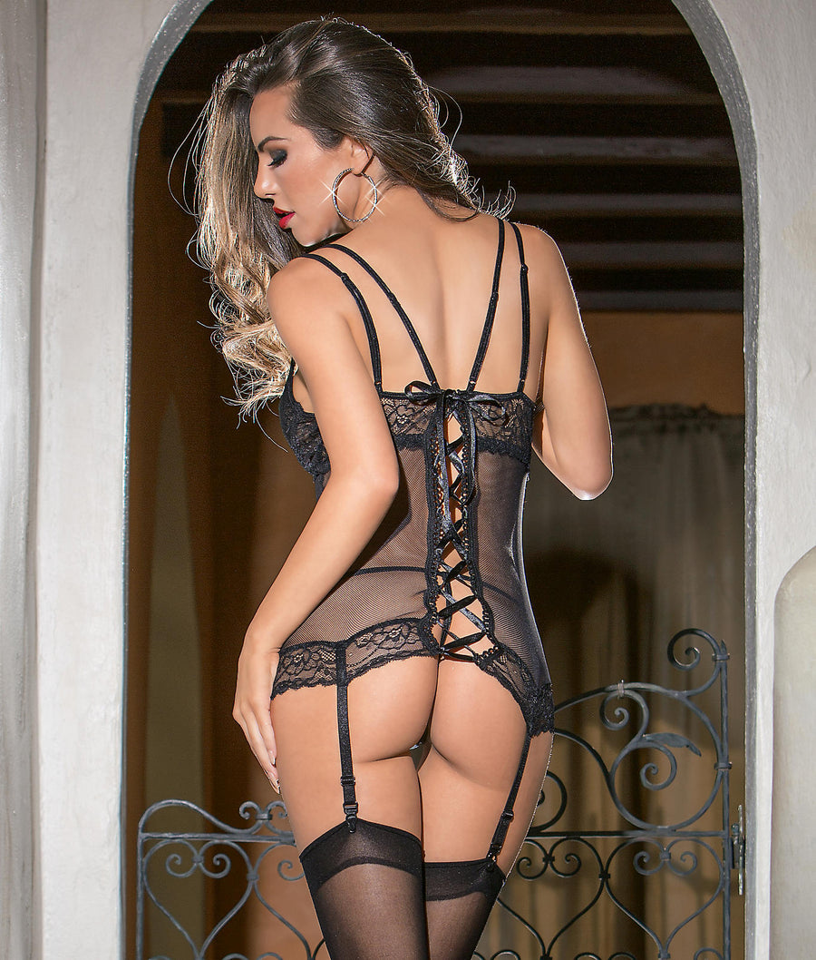 Black||Sexy Lace Up Bustier & Panty Set in Black