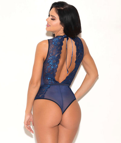 Two-Tone Sheer Lace Teddy in Navy Blue