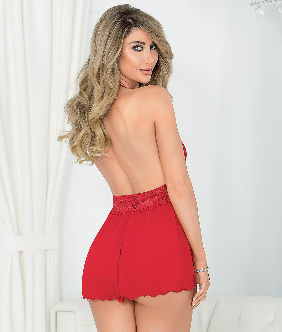Red||Halter Babydoll Set in Red